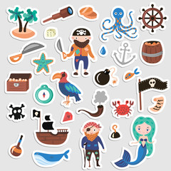 Set of Pirates vector cartoon stickers. Adventures and Pirate party sticker for Kindergarten. Children Adventure, treasure, pirates, octopus, whale, ship - Kids drawing vector cartoon stickers about