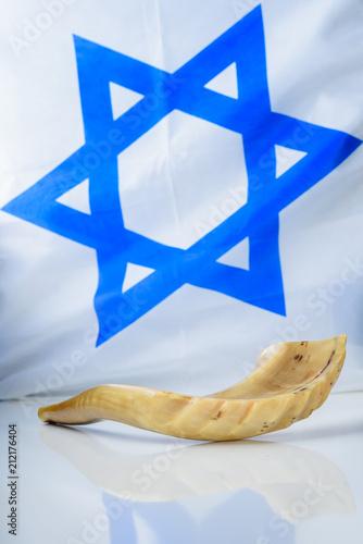 Shofar Horn On White Table Over Israel Flag Background Shofar Yom