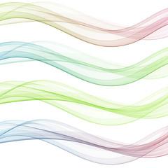 Vector set abstract wave pattern. Blue wave. Green wave. Red wave. Transparent wave set. Color wave. Smoke wave.