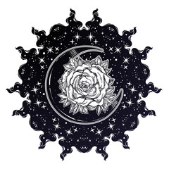 Sacred Geometry. Dark magic night sky Mandala round crescent moon and rose ornament.