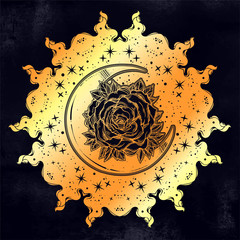 Sacred Geometry. Dark magic night sky Mandala round crescent moon and rose ornament.