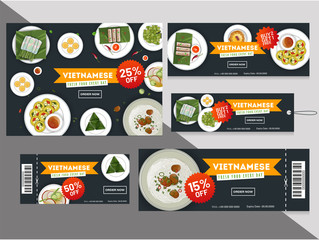 Vietnamese cuisine discount coupons or tags collection with different offers.