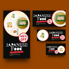 Creative coupon or voucher set with delicious foods illustration for Japanese Cuisine restaurant