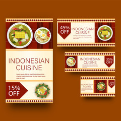Flat style template or voucher set for Indonesian cuisine with different discount offers.