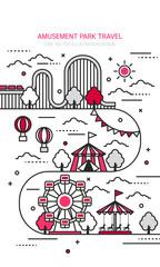 Amusement park vector Line illustration