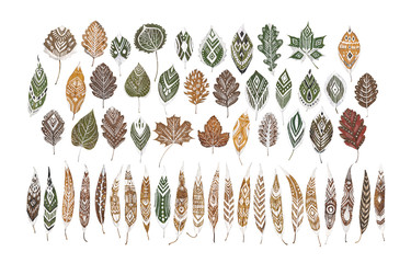 Set of autumn dry leaves with white hand-drawn ethnic ornaments. Isolated. For digital scrapbooking, collage design, patterns.