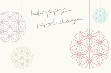 Happy Holidays greeting on Japanese traditional pattern kimono flower background