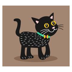 cute adorable black cat mascot character cartoon
