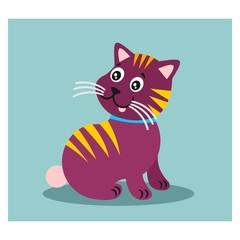cute adorable purple kitten cat mascot character cartoon
