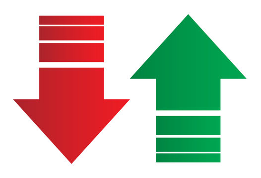 Simple up and down arrows. Upward, downward arrows in green and red isolated on white background, set of two. Flat style eps 10 vector illustration.