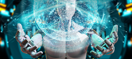 White male humanoid using digital global network 3D rendering