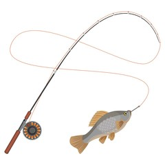 Fishing rod with caught limbless animal vector illustration