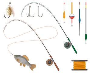 Fishing manufacturers and suppliers icons set. Reel and fishery rod