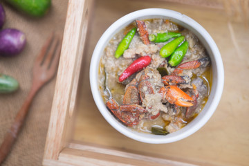Salted crab and minced pork in coconut milk