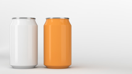 Two small white and orange aluminum soda cans mockup on white background