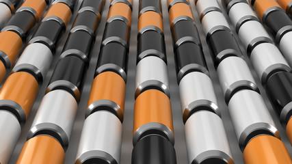 Raws of black, white and orange soda cans