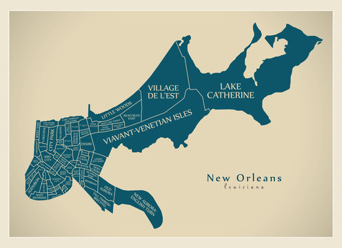 Modern City Map - New Orleans Louisiana city of the USA with neighborhoods and titles