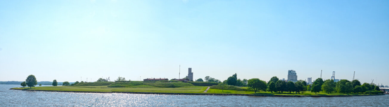 Baltimore Maryland Fort McHenry National Monument and Historic Shrine Panoramic View From Inner Harbor