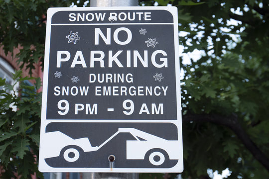 Snow Route No Parking During Snow Emergency 9pm-9am Street Sign