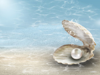 Pearl in oyster shell on sea sand with underwater ocean ripples