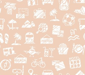 Travel, vacation, Hiking, leisure, seamless pattern, pencil shading, pink, vector. Different types of holidays and ways of travelling. White drawings on pink background. Imitation of pencil hatching.