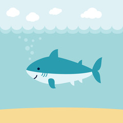 Cute cartoon shark on blue wave background.
