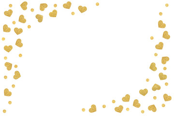 Gold glitter heart frame paper cut on white background - isolated