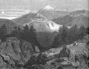Lebanon,  panoramic view of the Mount Lebanon range of mountains along the extension of the entire country parallel to Mediterranean coast, vintage engraving