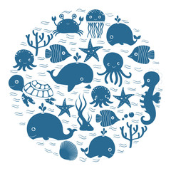 Cute blue cartoon sea animals in circle for baby designs, kids invitations and summer greeting cards