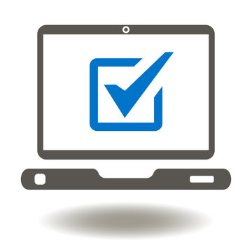 Laptop Check Mark Icon Vector. Mobile Computer Online Voting Illustration. Testing Logo. Digital Compliance Symbol. Examining Sign.