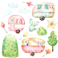 Ready to use children illustration style set of watercolor graphics including three retro caravans, three clouds, aqua cactus, yellow flower, green tree and bush, a hill, two berries and two buds