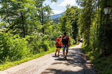Two men going on Alpine road in Austria