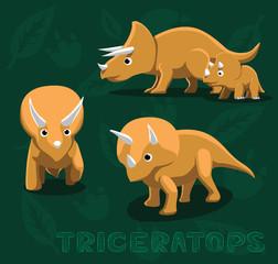 Dinosaur Triceratops Cartoon Vector Illustration