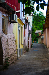 HURZUF, CRIMEA - June, 2018: View of the narrow street Gurzuf