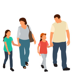 Wall Mural -  flat style family go