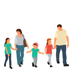 Wall Mural -  isolated, flat style family go