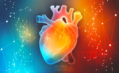 Human heart. Digital technologies in medicine. Innovations in healthcare. 3D illustration on a colorful background