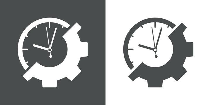 Icono plano reloj y engranaje en gris y blanco