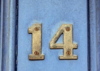 Written Wording in Distressed State Typography Found Number Fourteen, 14