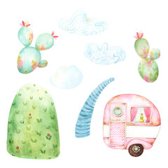 Pink caravan on hill watercolor scene creator. This festive camping themed graphic set includes tiny pink caravan, two cacti, three clouds, high patterned hill and a stream