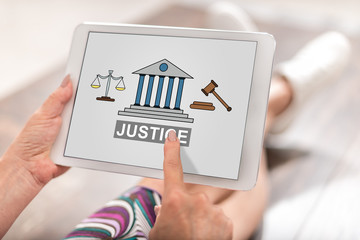 Justice concept on a tablet