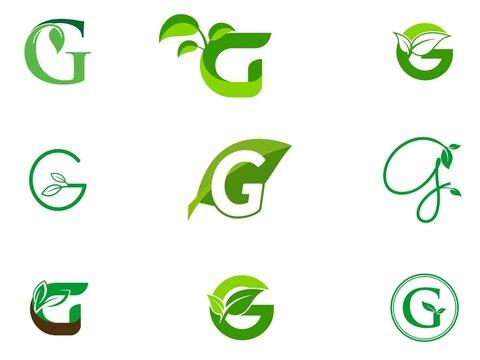 leaf initials G logo set, natural green leaf symbol, initials G icon design