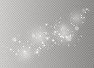 White sparks and golden stars glitter special light effect. Vector sparkles on transparent background. Christmas abstract