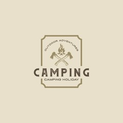 Outdoor adventure leisure. Forest camping logo emblem vector illustration.