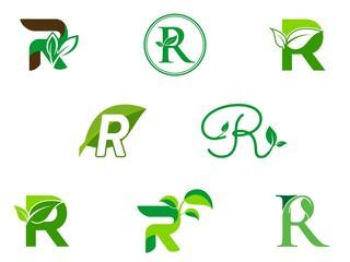 leaf initials R logo set, natural green leaf symbol, initials R icon design