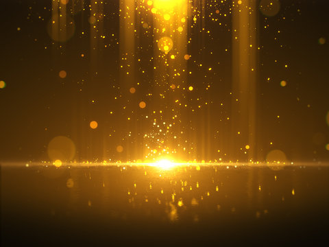 Golden bokeh glamour abstract background