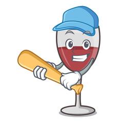 Playing baseball wine character cartoon style