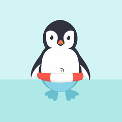 Cute Penguin in inflatable ring  cartoon