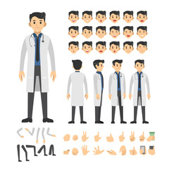 doctor man character set. Full length. Different view, emotion, gesture.