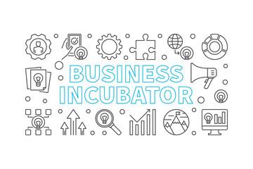 Business Incubator horizontal vector linear banner